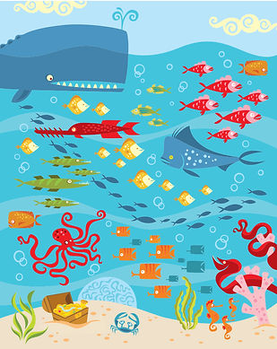Fish and whale sealife illustration
