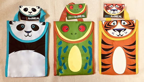 Kids animal lunch bags panda frog tiger
