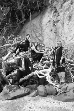 Black and white family portrait