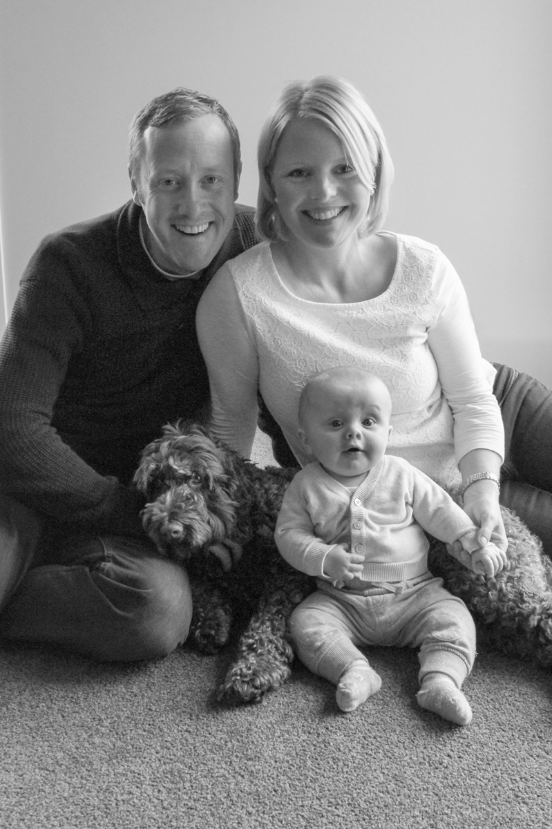 Black and white family portrait