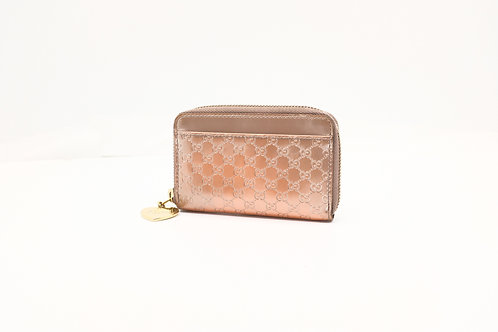 Gucci Key / Coin Pouch Micro Guccissima Round Zip Leather Pink