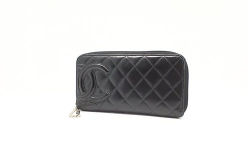 Chanel Cambon Long Wallet in Black Leather