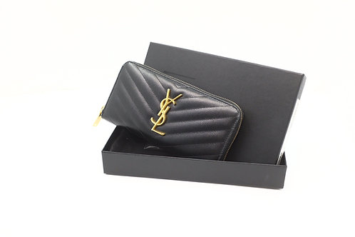 YSL Round Zip Long Wallet Quilted V Stitch Black Leather