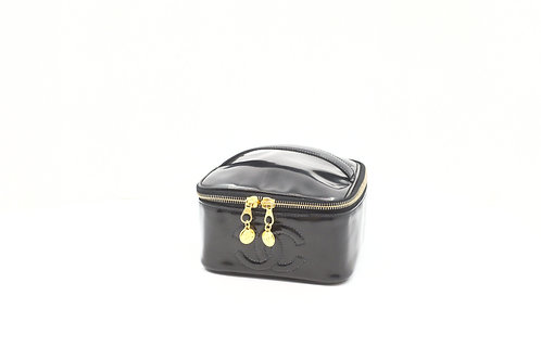 Chanel Vanity Cosmetic Pouch in Black Patent Leather