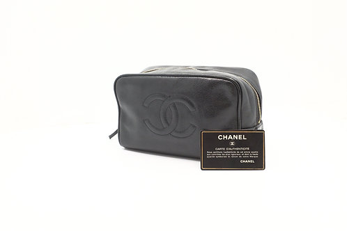 Chanel Cosmetic Pouch Caviar Skin Black Leather