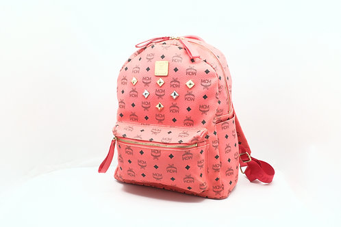 MCM Backpack Pink Visetos Studs Medium