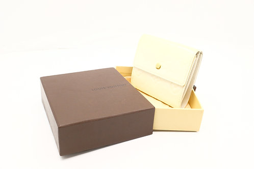 Louis Vuitton Compact Wallet Vernis Cream Leather
