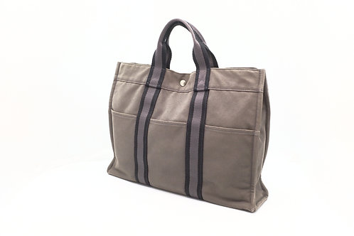 Hermes Fourre Tout MM Tote Bag Gray Canvas