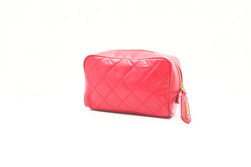 Chanel Matelasse Toiletry Pouch in Red Leather