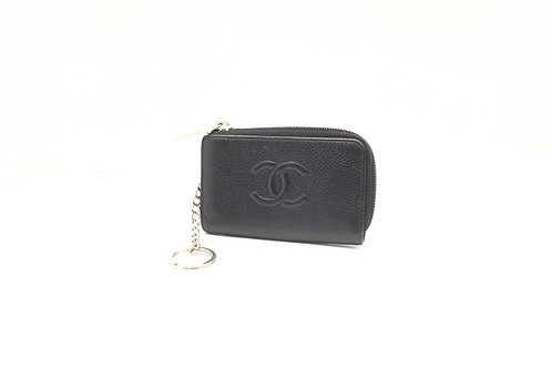 Chanel Key Holder / Coin Pouch in Caviar Black Leather