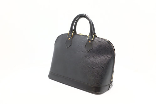 Louis Vuitton Alma Epi Noir Black Hand Bag Leather