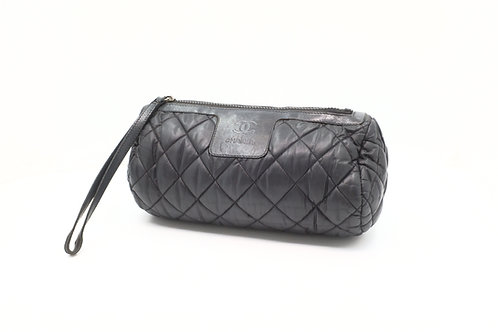 Chanel Cosmetic Pouch in Black Matelasse Leather