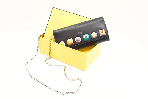 Fendi Wallet On Chain in Black Leather