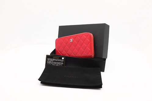 Chanel Matelasse Long Wallet Round Zip Red