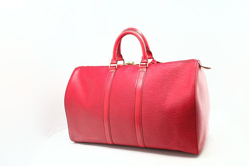 Louis Vuitton Keepall 45 in Red Epi Leather