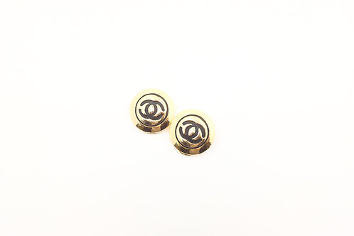 Chanel Clip on Earrings Circle Gold Tone Coco Mark