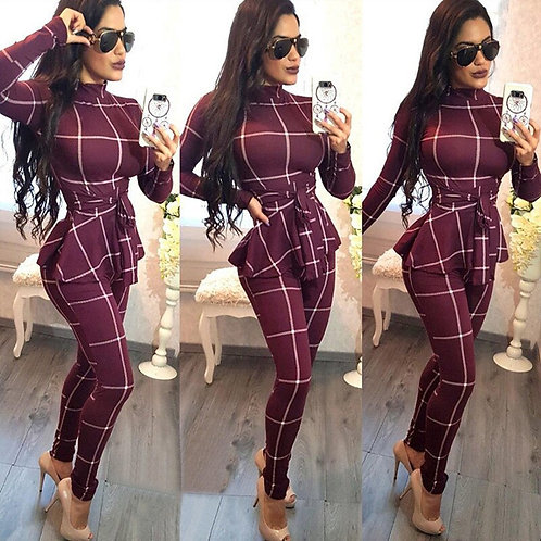 Plaid Print Bodycon Jumpsuit Women Turtleneck Long Sleeve Peplum One Piece