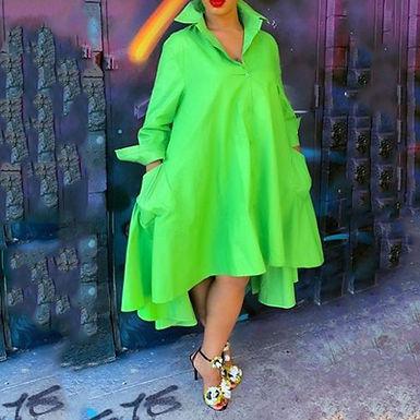 Green  Long Shirts Dress with  Ruffles