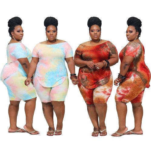 Plus Size Women Clothing Two Piece Short Set Xl-4Xl Summer 2021 Fashion Casual