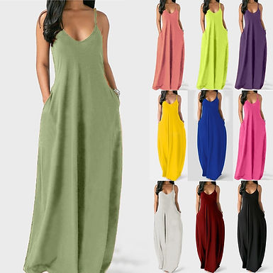 Fashion Women's Summer Dress Sexy Large Size Solid Color Sleeveless O-Neck Pocke