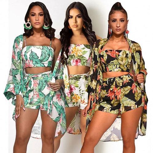 Digitial Print Ensembles De Femmes Summer 3 Piece Set Women