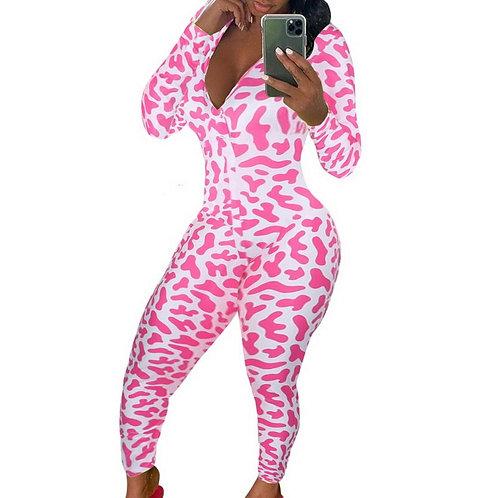 Sexy Onesie Pajamas Long Jumpsuit Sleepwear Long Romper Bodycon