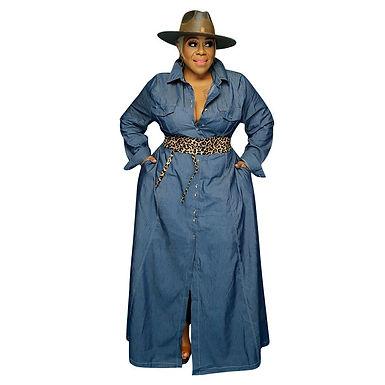Maxi Dresses for Women Turn Down Collar Casual Long Sleeve Dress Plus Size Women