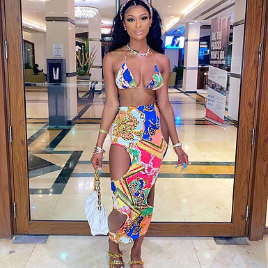 Crop Top Hollow Out Hole Skirt Set Two Piece Set Sexy Skinny Bodycon Swim