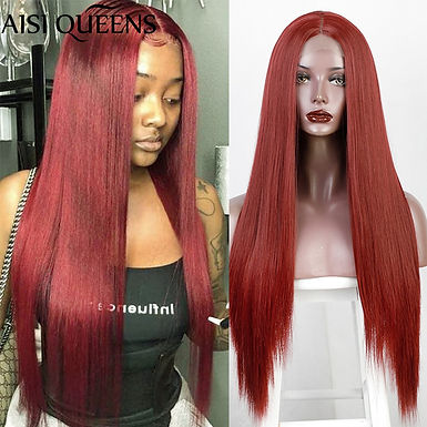 AISI QUEENS Long Red Straight Small Lace Part Wig Synthetic Wigs for Women Black