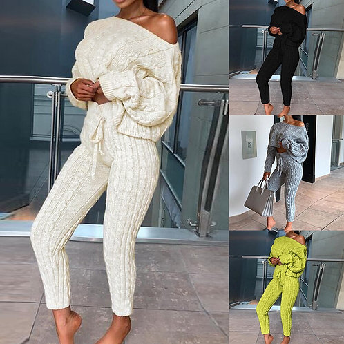 Off Shoulder Cable Knitted Warm Loungewear  Sweater  Suit