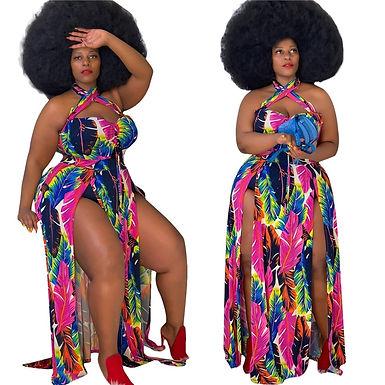 Plus Size Dress 4xl Sexy Sleeveless Open Fork Hang a Neck Printing Summer Dress