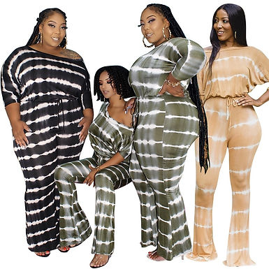 Plus Size Clothing 5XL Rompers Womens Jumpsuit Loose Elastic Waist Flared Pant