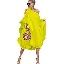 Autumn High Street Chiffon Dress Off Shoulder Batwing Sleeve