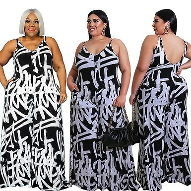 XL-5XL Plus Size Jumpsuits Women Clothing Summer 2021 Irregular Graffiti