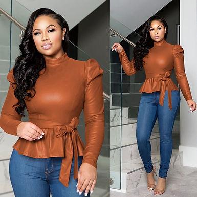 Locomotive Style Shirt Ladies  Bonded Leather Long Sleeve Shirt
