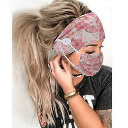 2Pcs/Set Button Head Band Mask