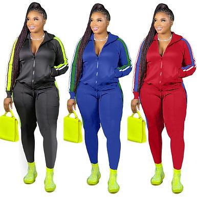 Plus Size S-4xl 2 Piece Set Women Fall Clothes Sweatsuit Joggers Outfit Zip