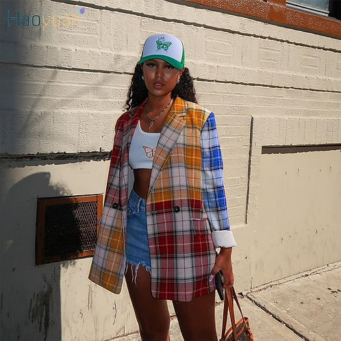 Sexy Fashion Plaid Suit Coat Long Sleeve with pockets