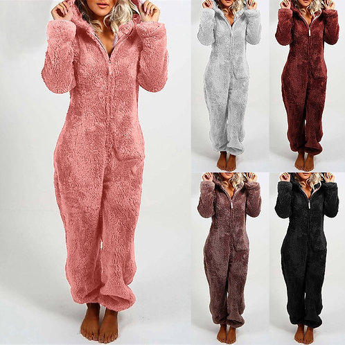 Bear Hug Casual Hooded Warm Plush Bodysuit Winter Zipper up