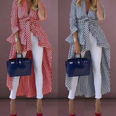 Stripe Shirts Long Sleeve V-Neck Loose Tops Blouse Striped