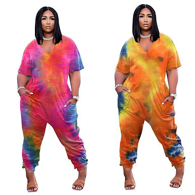 Plus Size Women's Clothing Sexy v Neck Personality Tie Dye Jumpsuit