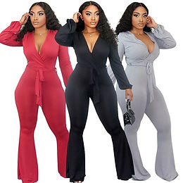 Jumpsuits Plus Size Deep V-Neck Long Sleeve High Waist