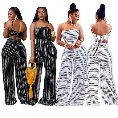S-2xl Plus Size Summer Clothes Black Jumpsuit Women Dot Printed Breast Wrap