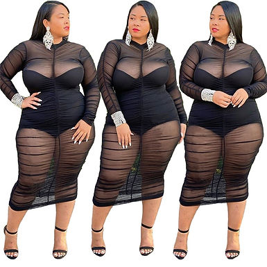 Plus Size Clothing Dresses for Women 2021 Long Sleeve Dress With Bodysuit Lining
