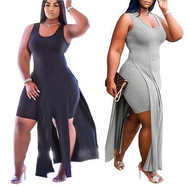 XL-5XL Summer 2021 Plus Size Women Clothing Fashion Sexy Solid Sleeveless