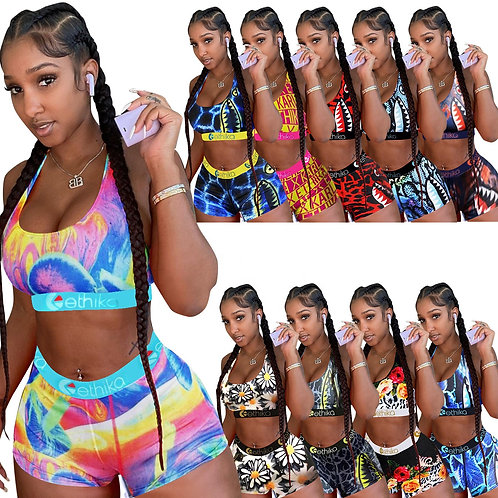 Positioning Print Vest Shorts Two Piece Sweat Absorbing Sports Suit Breathable