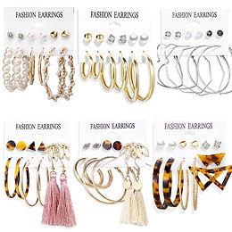 17KM Vintage Big Gold Hoop Earrings for Women Oversize Circle Earrings Pearl