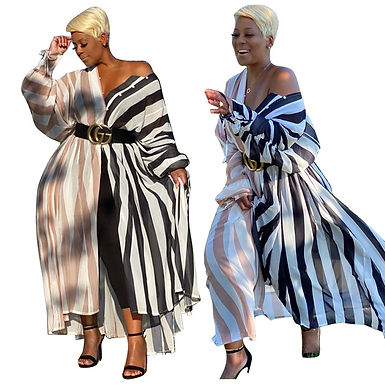 Maxi Dresses for Women Long Sleeve Dress Plus Size Clothing Loose Casual Striped