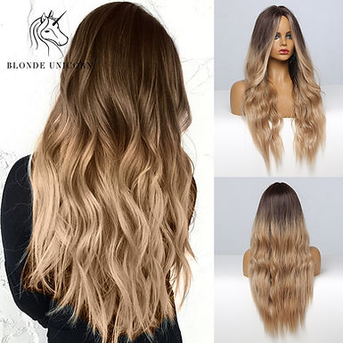 Blonde Unicorn Ombre Blonde Brown Long Wig Middle Part Hair Wig Cosplay Natural