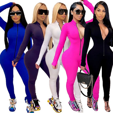Sexy Solid Color Long Sleeve Deep v Bodycon Rompers Womens Jumpsuit Sport Suit F